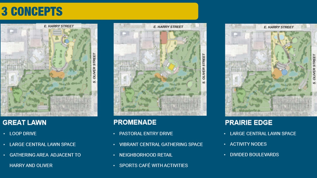 The city offers three designs labeled as Great Lawn, Promenade, and Prairie Edge.