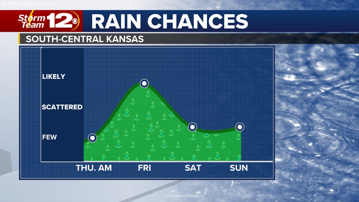 Chances for showers and storms will be increasing