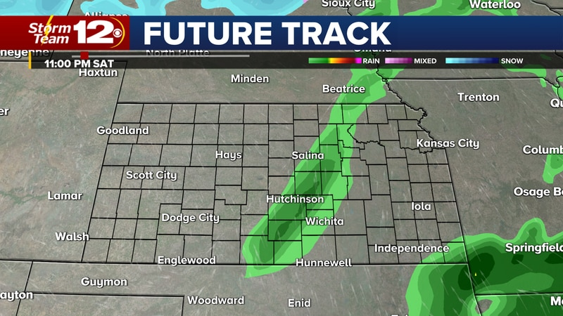 As a cold front moves through Kansas, showers and a few storms will be possible overnight,...