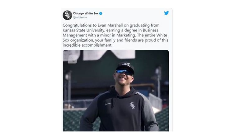 Thirty-one-year-old Chicago White Sox relief pitcher Evan Marshall has completed his degree...