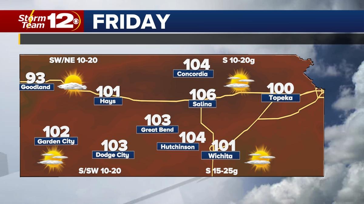Forecast high temperatures Friday.