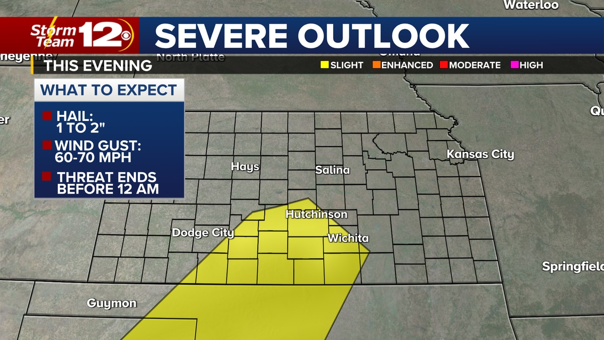 Isolated severe storms possible this evening in the area highlighted in yellow.