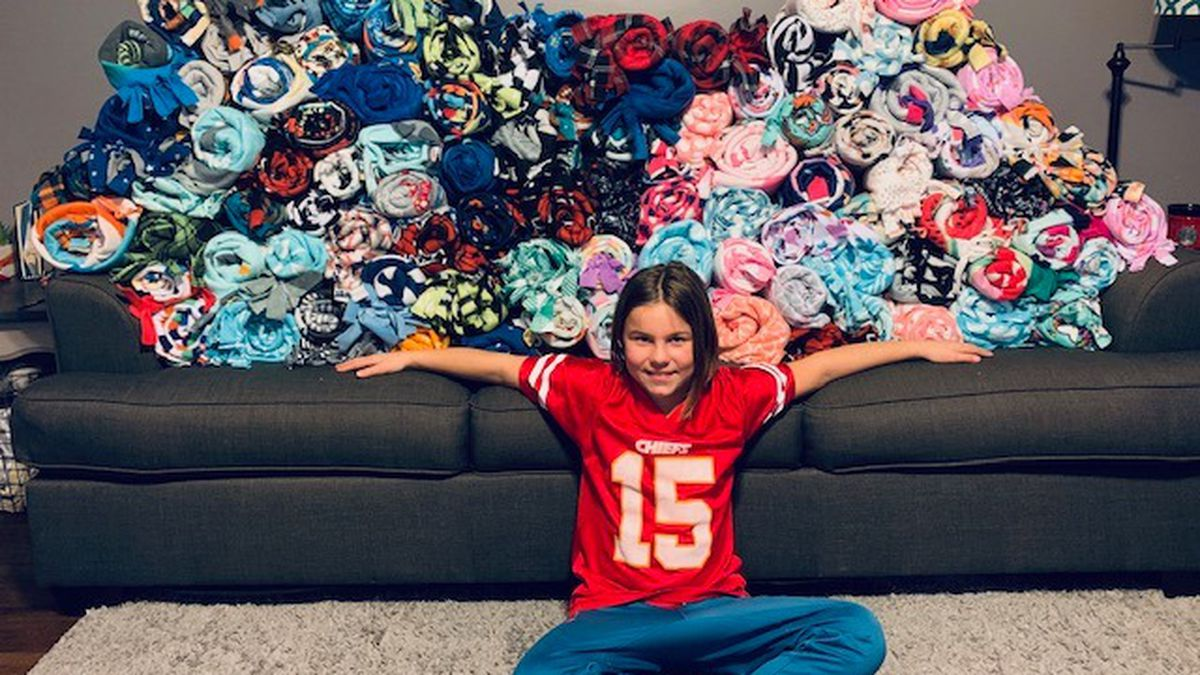 Nine-year-old Autry Jo of Cheney, Kan., has donated more than 100 blankets to Pediatric...