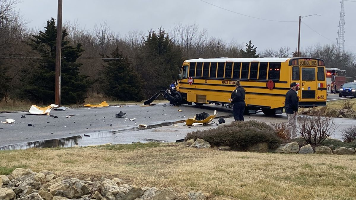 A school bus and garbage truck crashed on Friday in north Wichita. At least one person suffered...