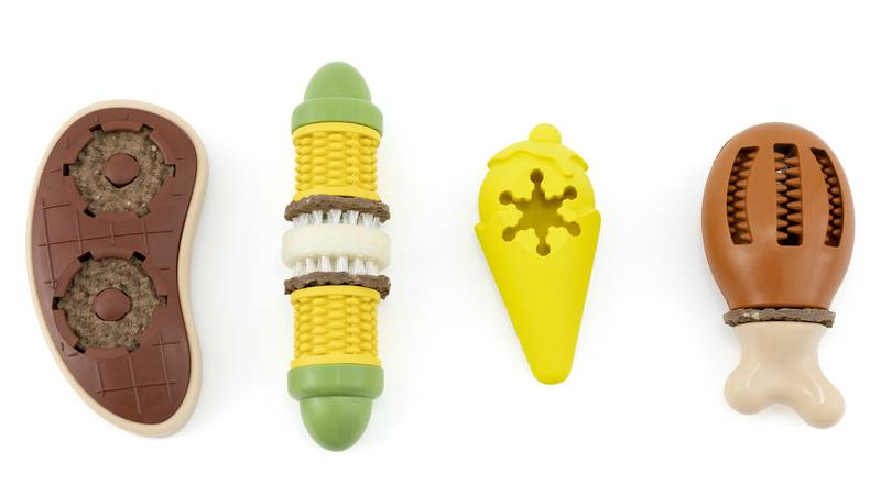 Each toy is made of BPA-free rubber and designed for 20-30 minutes of playtime.
