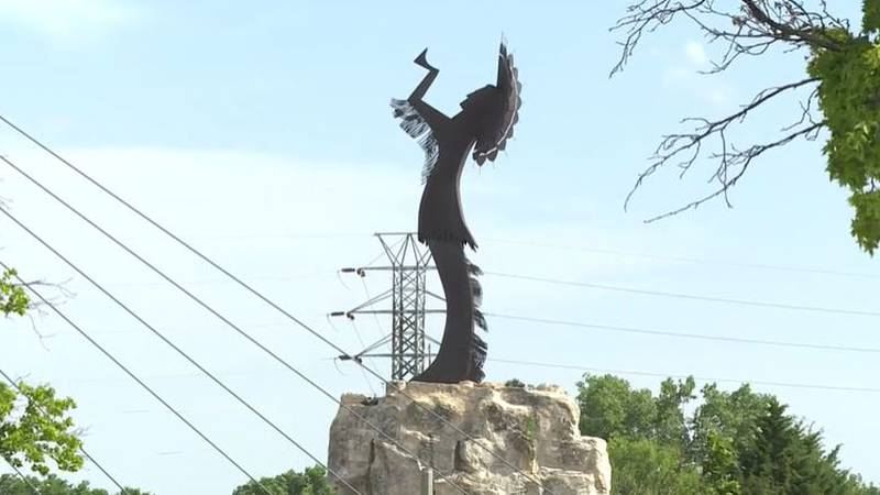 The Keeper of the Plains, an iconic Wichita landmark, sculpted by Blackbear Bosin, stands at...