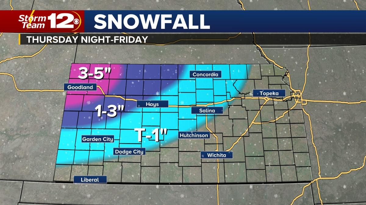 Forecast snow amounts from Thursday night through Friday.