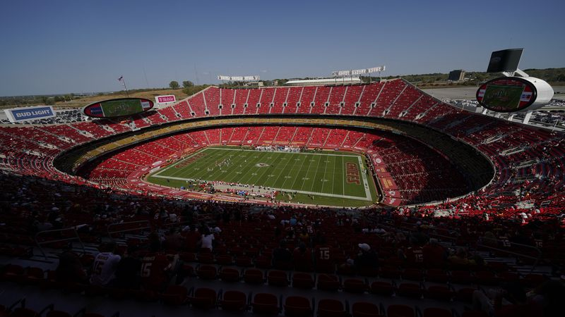Arrowhead Stadium is shown during the first half of an NFL football game between the Kansas...