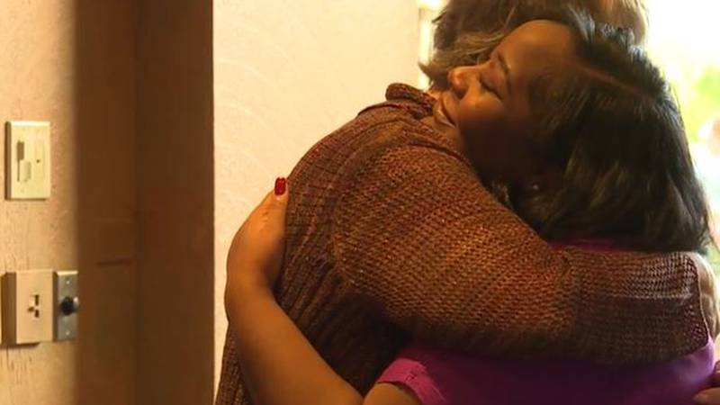 Danecia Williams embraces the mother of Rylee Malone, the heart donor who gave her a chance to...