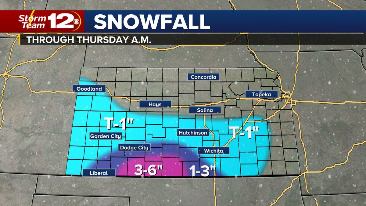 Predicted snow totals for Dec. 2-3 winter storm in Kansas