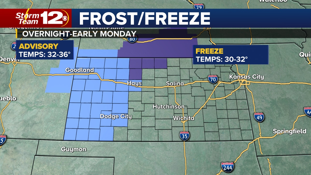 Some areas will have frost by early Monday