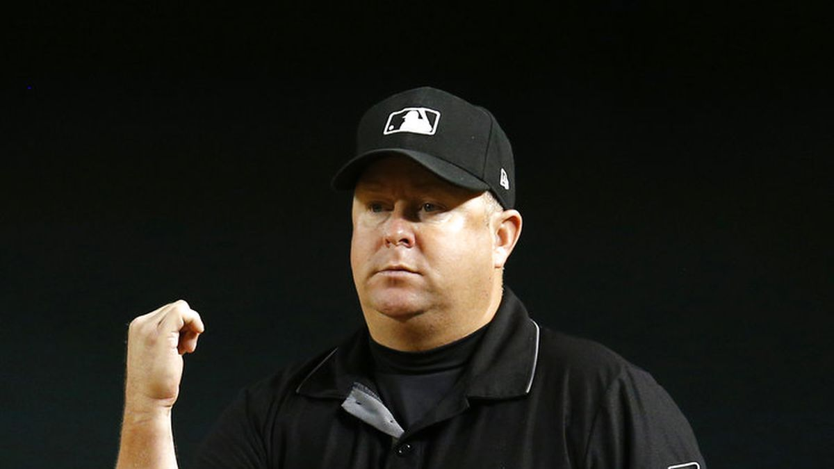 MLB umpire Todd Tichenor (13) in the first inning during a game between the Arizona...