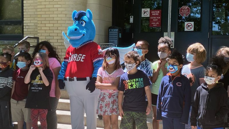 The Wichita Wind Surge unveiled its mascot, Windy, on Thursday at Franklin Elementary School.