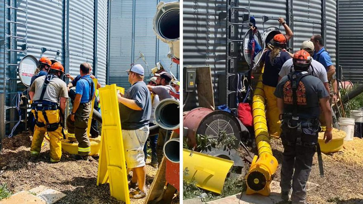 A man was rescued from a grain bin in Cheyenne County and is said to be in decent shape.
