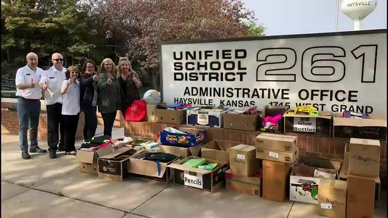 Salvation Army school supply donation