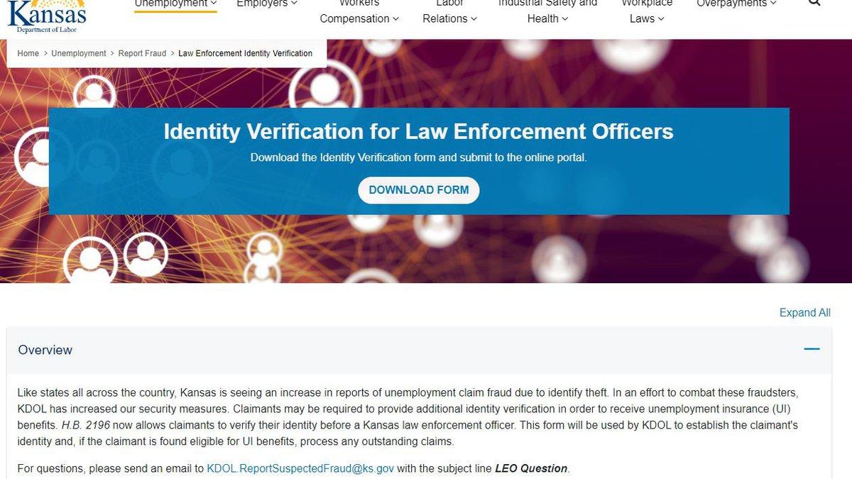 KDOL ID Verification website
