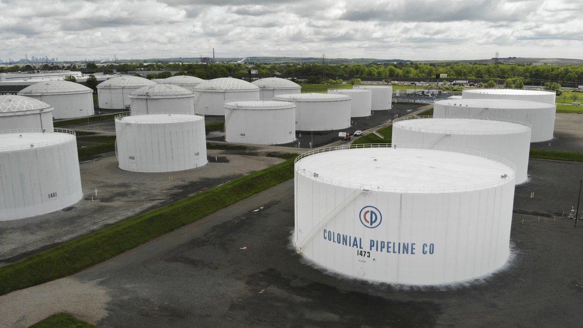 FILE - Colonial Pipeline storage tanks are seen in Woodbridge, N.J., Monday, May 10, 2021.