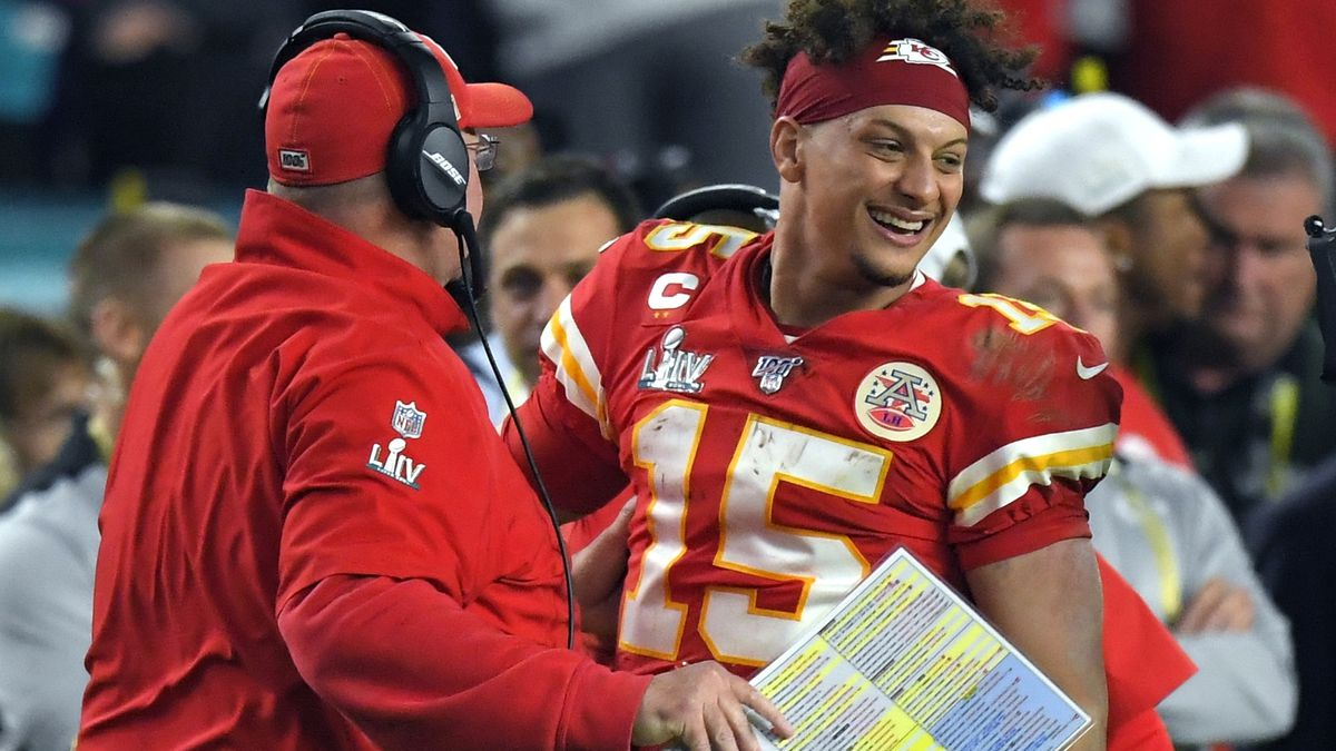 Kansas City Chiefs head coach Andy Reid, center, and quarterback Patrick Mahomes celebrate after defeating the San Francisco 49ers in the NFL Super Bowl 54 football game Sunday, Feb. 2, 2020, in Miami Gardens, Fla. (AP Photo/Mark J. Terrill)