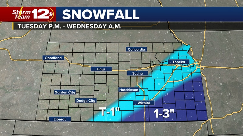 Forecast snow totals Tuesday evening through early Wednesday.