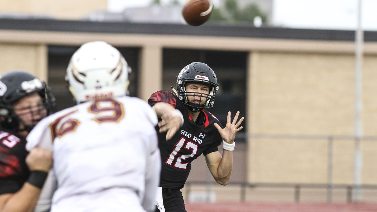 Great Bend Panther #12 Koy Brack throws a pass in the first quarter.  The Hays Indians faced off with the Great Bend Panthers at Memorial Stadium in Great Bend, Kansas on September 7, 2018.  (Photo: Joey Bahr, www.joeybahr.com)