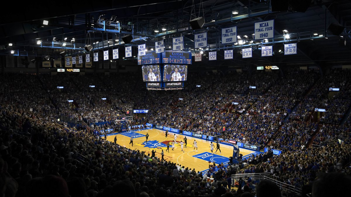 The Kansas Jayhawks host the Baylor Bears during an NCAA college basketball game at Allen...