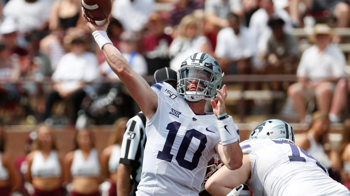 Kansas State quarterback Skylar Thompson (10) passes against Mississippi State during the first half of their NCAA college football game in Starkville, Miss., Saturday, Sept. 14, 2019. (AP Photo/Rogelio V. Solis)