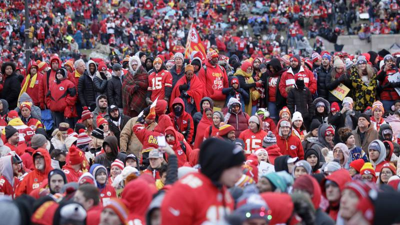 Kansas City Chiefs fans gather for a Super Bowl parade and rally in Kansas City, Mo.,...