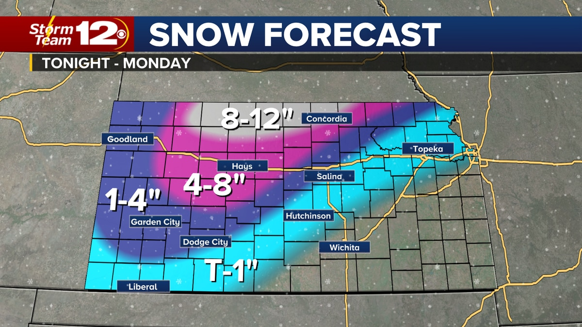 Snow will begin in southwestern Kansas Sunday evening and it will expand into the north central...