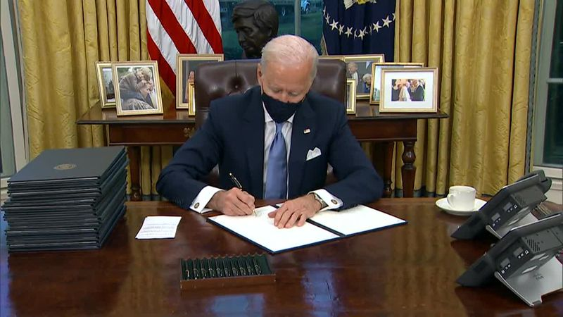 The president also signed an executive order that imposes a mask mandate for those on federal...