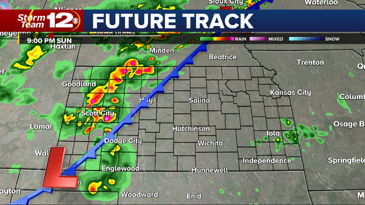 Damaging wind gusts and large hail will be possible in northwestern Kansas Sunday evening.