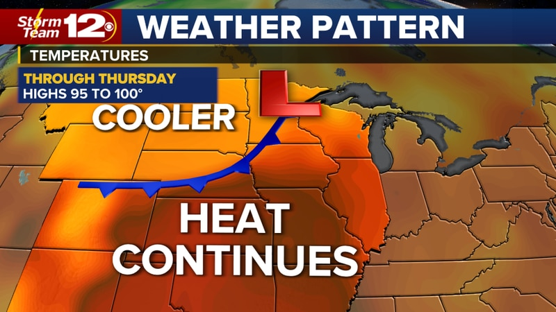 Heat continues this week- a few storms later today