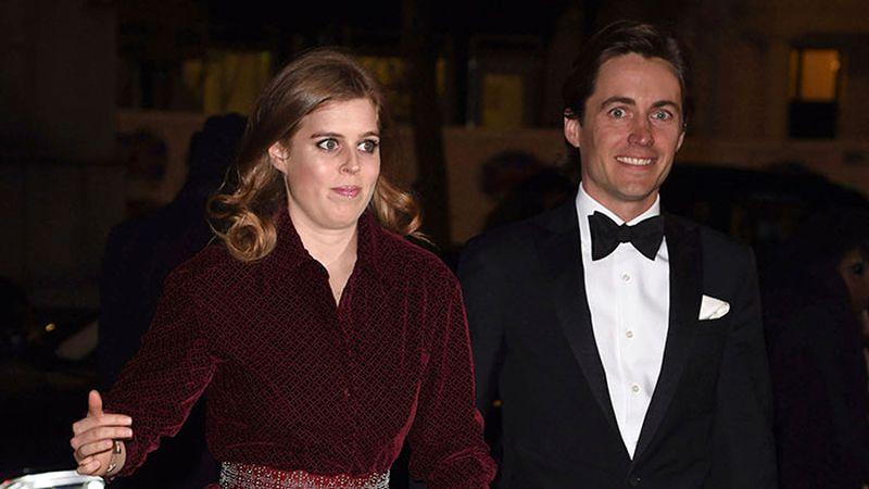 FILE - Princess Beatrice and Edoardo Mapelli Mozzi arriving for the 2019 Portrait Gala at the...