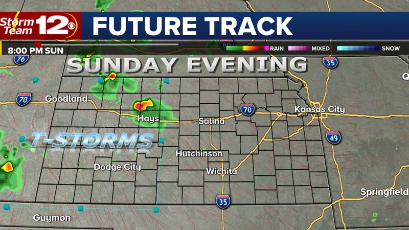 Sunday evening storms will be isolated