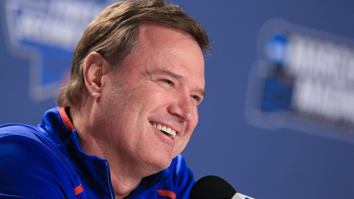 Kansas coach Bill Self speaks during a news conference ahead of a second-round men's college...