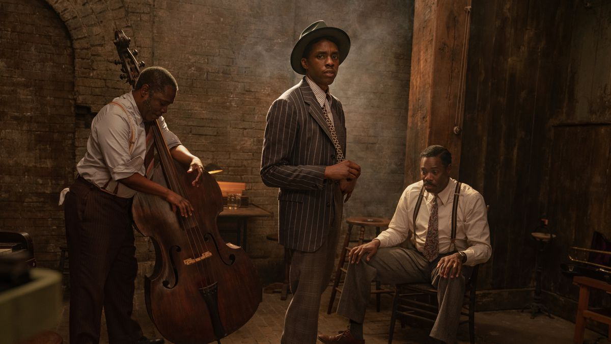 "Michael Potts, from left, Chadwick Boseman and Colman Domingo in ""Ma Rainey's Black Bottom.""..."