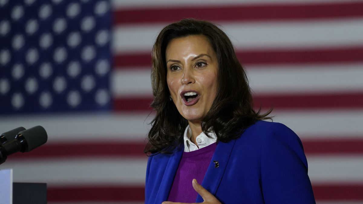 Michigan Governor Gretchen Whitmer speaks at Beech Woods Recreation Center, in Southfield, Mich., Friday, Oct. 16, 2020.