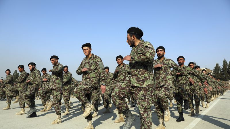 FILE - In this Jan. 18, 2021, file photo newly graduated Afghan National Army march during...