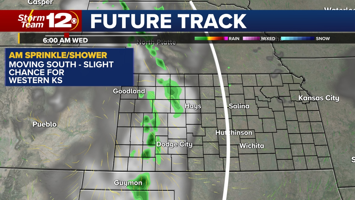 Chance for a few sprinkles/showers in the west