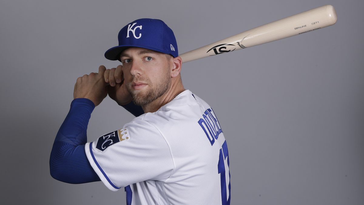 This is a 2020 photo of Hunter Dozier of the Kansas City Royals baseball team. This image reflects the Kansas City Royals active roster as of Thursday, Feb. 20, 2020, when this image was taken. (AP Photo/Charlie Riedel)