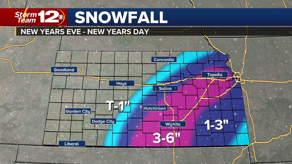 Ice and snow will impact Kansas for New Years Eve.