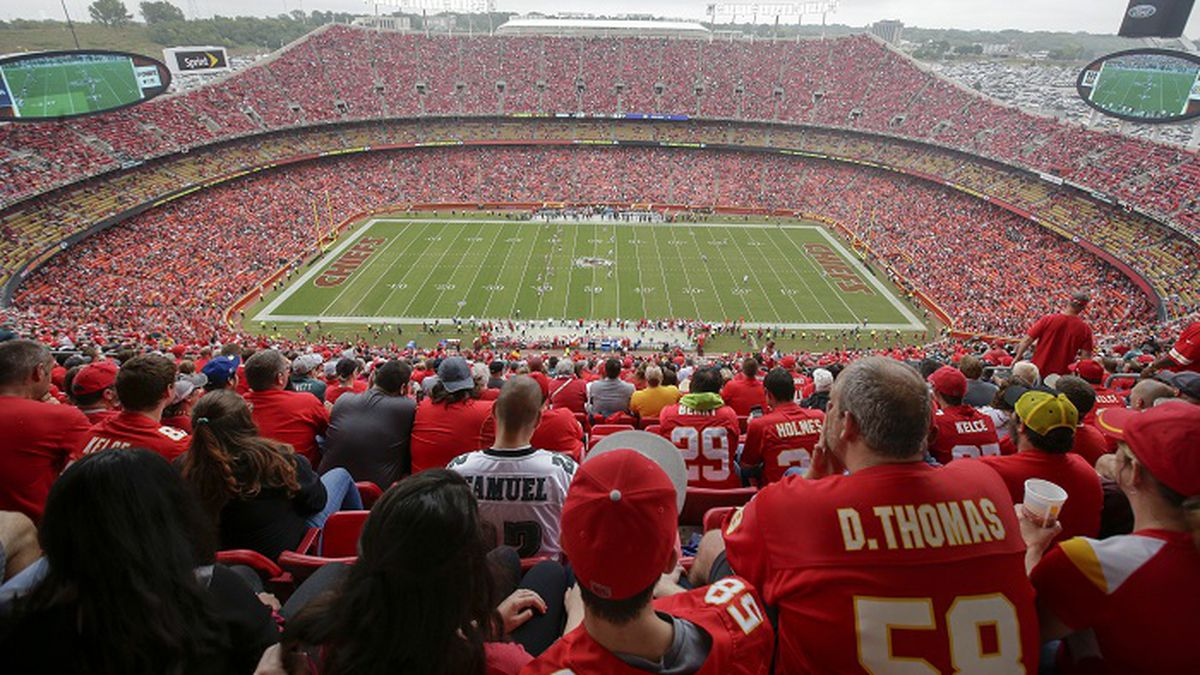 An overhead general view of Arrowhead Stadium during the second half of an NFL football game...