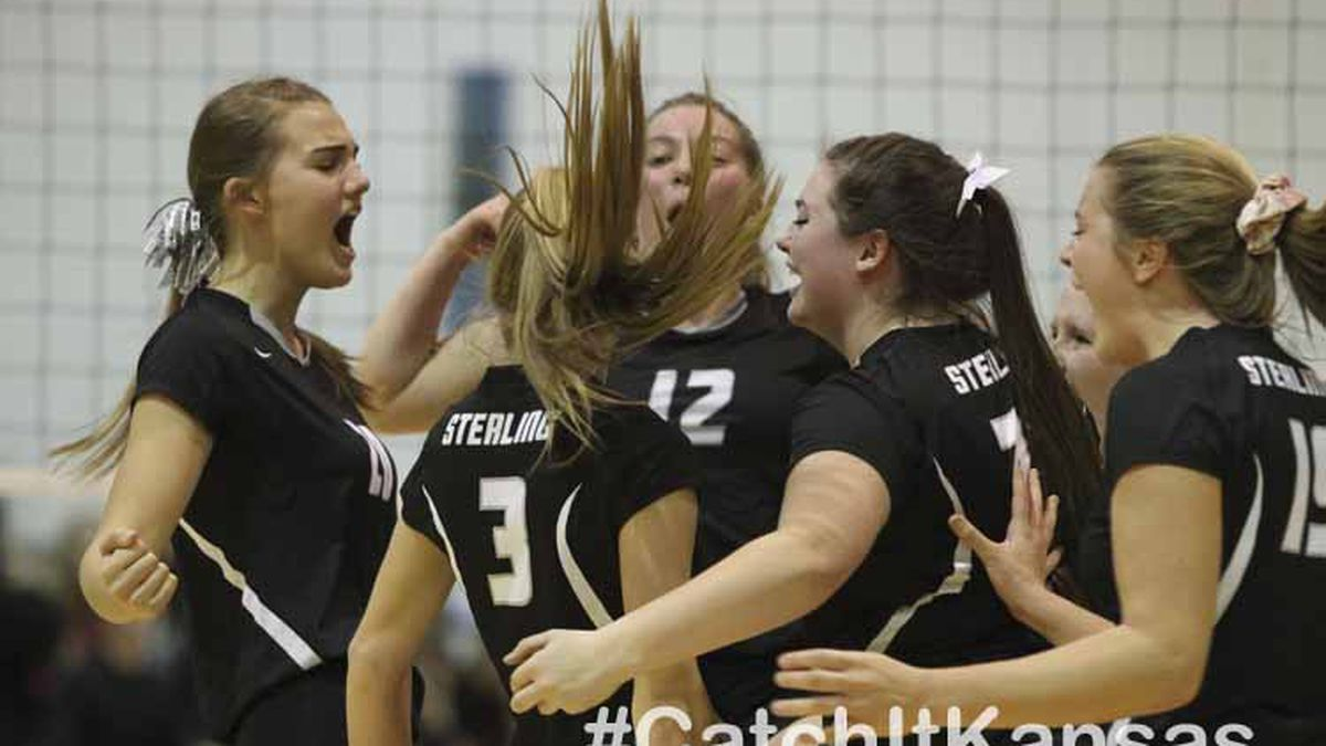 The Sterling Lady Black Bears celebrate winning a point.  The Garden Plain Lady Owls won the...
