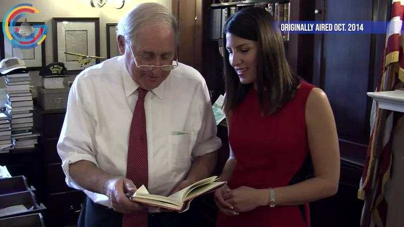 Sen. Carl Levin shows Washington Bureau Chief Jacqueline Policastro around his office as he...