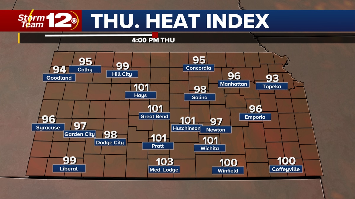 Heat indices for Thursday