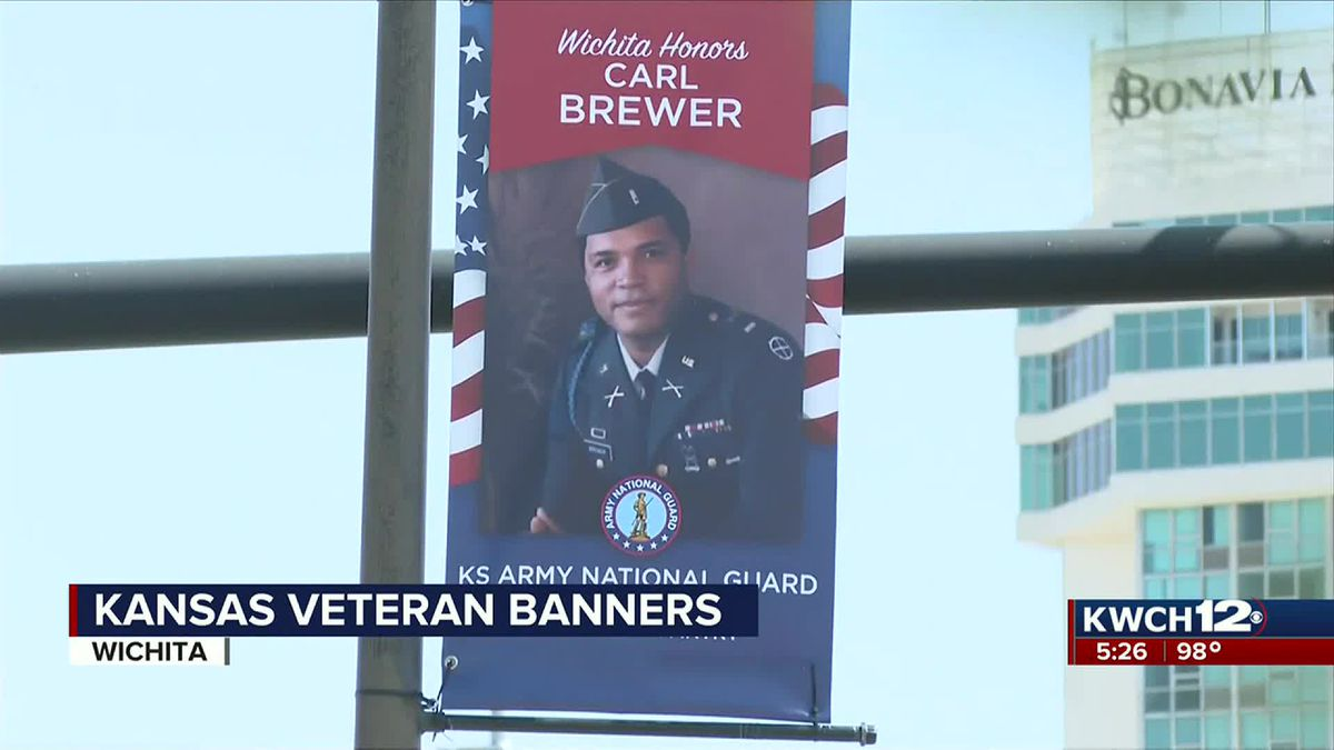 Banners hung near downtown Wichita to honor veterans