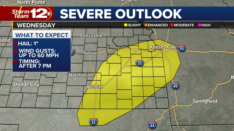 Hail and gusty winds possible with storms Wednesday evening.