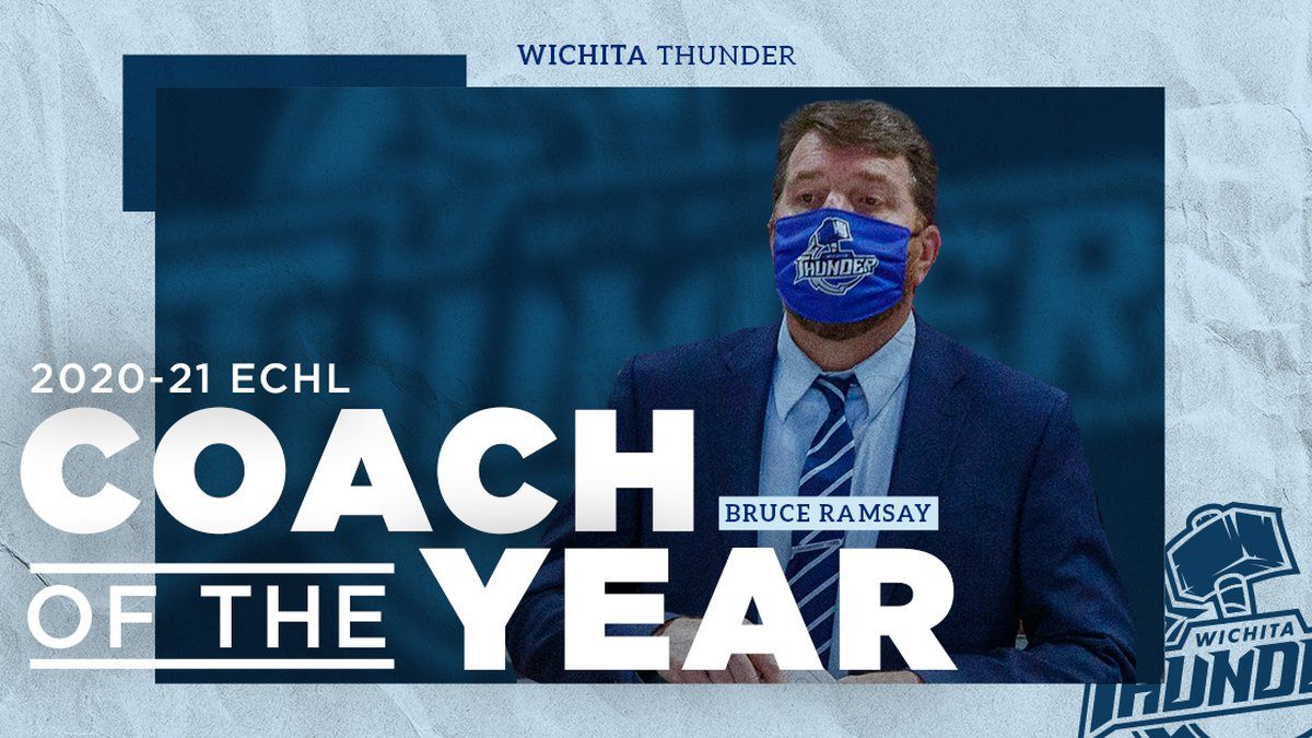 Wichita Thunder's Bruce Ramsay is named ECHL Coach of the Year.