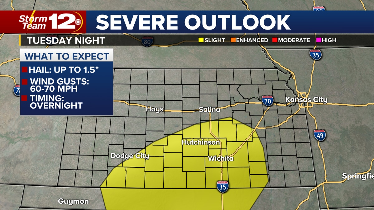 Severe storm risk Tuesday night. Large hail and damaging wind gusts possible.