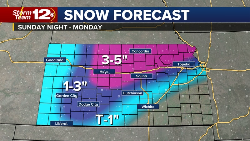 Winter weather will move into Kansas on Monday.