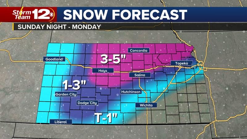 Winter weather will move into Kansas on Monday.